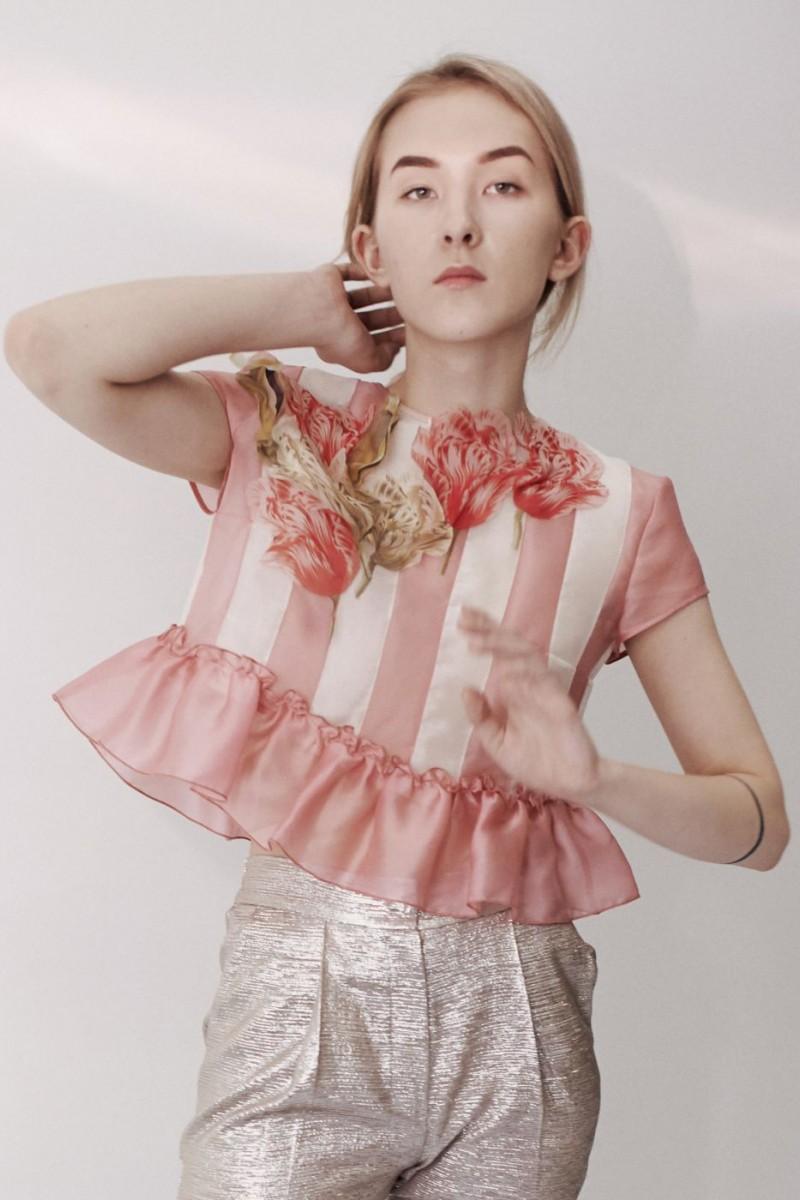 Silk Organza Top With Flower Applique