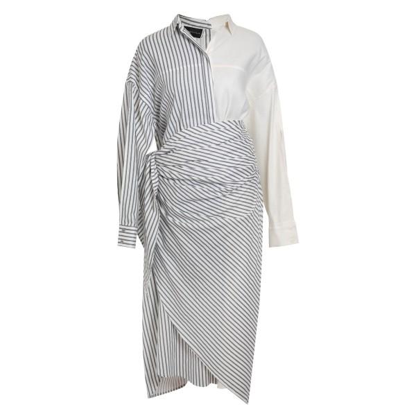 Look 4: Striped shirt dress + waist wrap